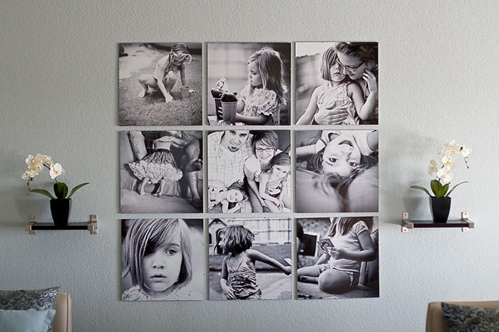 Gallery Wall Idea #15 - Black and White Photos Without Frame