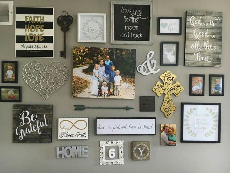 35 cool photo wall ideas to display family photos on your for Wall decorating ideas pinterest