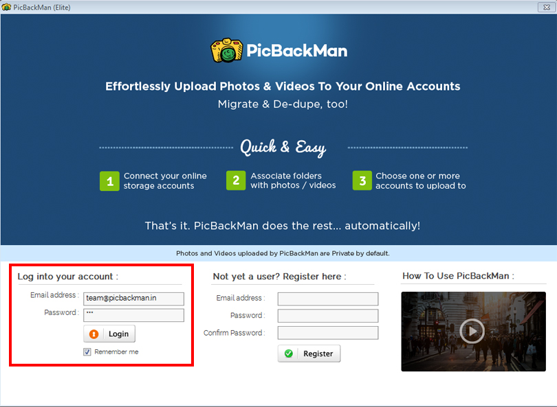 Open the PicBackMan Desktop app and log in